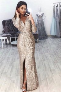 Wholesale Mermaid V-Neck Long Sleeve Split Prom Dresses 2019 Cheap Sequin Evening Wear Gowns Cocktail Party Ball Sweet 16 Dress Formal Gown