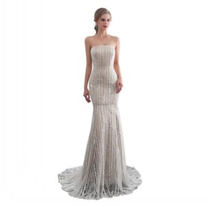 Wholesale New Arrival Real Image Mermaid Strapless Formal Evening Gowns Champagne Lace and Satin Material High Quality Lace-up Back Prom Dress