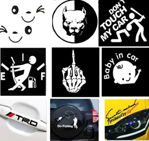 Wholesale 12kinds pc Baby in car Dont follow Letter Cartoon Smiley Face Funny Decorative car stickers For Car Mirrors Dool Safety Warning Stickers