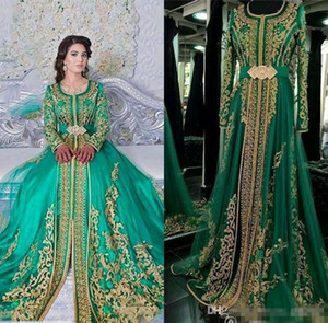 Wholesale 2019 Emerald Green Muslim Formal Evening Dresses Long Sleeves Abaya Designs Dubai Turkish Prom Evening Party Gowns Cheap Moroccan Kaftan