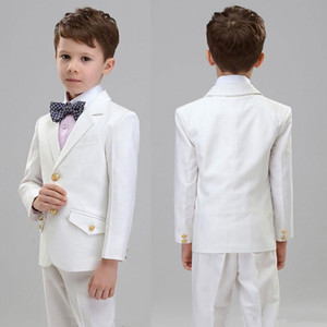 Wholesale yellow suits for boys resale online - Custom Made White Child Suits Men Suits for Wedding Boy Clothing Flowers Wear Groom Tuxedo Piece Coat Trousers Latest Designs Costume Homme