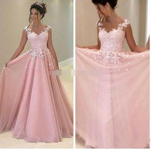 New Lovely Pink Prom Dresses Long Chiffon Illusion Jewel Neckline Cap Sleeves Lace Applique Full Length Party Gowns
