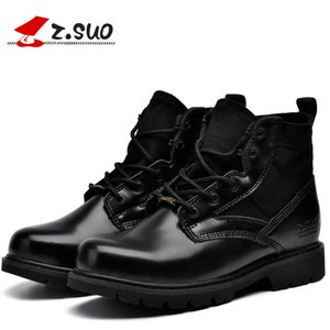 Wholesale Z suo Quality Classic Desert Nubuck Genuine Leather Men Outdoor Military Canvas Combat Boots Winter Shoes MX190819