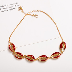 Wholesale Fashion Gold Color Spray Paint Cowrie Shell Choker Necklace for Women Black White Yellow Red Bead Statement Collars Collier