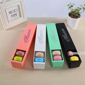 Macaron Box Cake Box Biscuit Muffin Box 20.3*5.3*5.3cm Black Blue Green White 4 Color