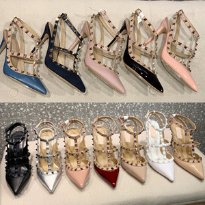 Luxury designer sandals studs pump women High Heels patent calfskin leather ankle strap pump TOP quality real leather Bottom Sexy shoes
