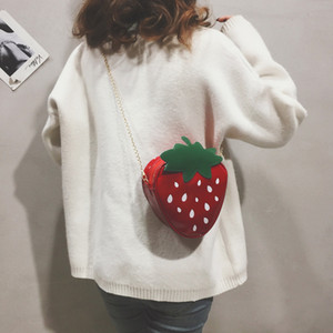 Wholesale Mini Cute Chain Messenger Bags New Summer Shoulder Bag Gift Strawberry Cute Design Leather Mini Messenger Bag For Girl A1