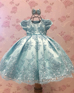 Wholesale Light Sky Blue Lace Flower Girl Dresses With Short Sleeves Backless Little princes Girls Pageant Dress Beaded First Communion Gowns