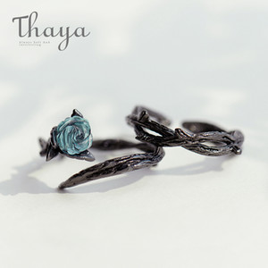 Thaya Rose Thorns S925 Silver Rings Blue Crystal Rose Flower Vintage Plant Valentine's Gift For Women Knot Black Fine Jewelry MX190726