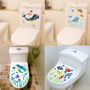 Wholesale underwater wall murals resale online - Sealife Fish Toilet Seat Stickers Home Decoration Diy Flower Underwater Scenery Mural Art Bathroom Room d View Pvc Wall Decal