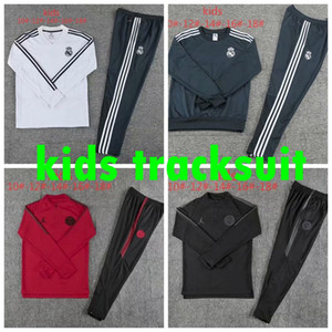 Wholesale 2018 boy Kids kit tracksuit training suit real madrid man kids United RONALDO psg pogba ajax Soccer sportswear sets