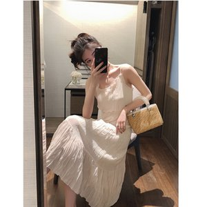 Immortal White Pleated Sling Dress Fairy High Waist Lotus Leaf Side Knee Long Skirt