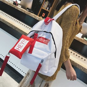Back-to-school season two-piece backpack customized canvas schoolbag girl new letter casual backpack on Sale