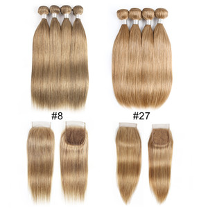 Ash Blonde Color #8 #27 Malaysian Indian Straight Human Hair Bundles With Closure 4 Bundles With 4x4 Lace Closure Remy Human Hair Extensions