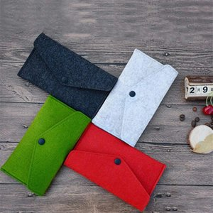 Wholesale 2019 new hottest candy color felt ladies fashion envelope coin purse felt bag ladies classic wallet