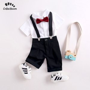 Wholesale Boys Suit clothing sets Formal Children s Suit Baby cotton white shirt tie bow black Strap pant wedding Dress flower boy clothes