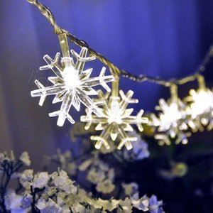 Wholesale light without battery resale online - LED snowflake lights wedding room bar outdoor Christmas decoration lights meters warm lights party props without battery FFA3295