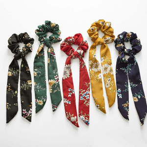 Wholesale Vintage Flower Hair Scrunchies Bow Women Accessories Hair Bands Ties Scrunchie Ponytail Holder Rubber Rope Ribbon Kids Big Long Bow