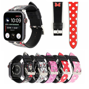 For Apple Watch Strap Bands Genuine Real Leather Polka Dot Cartoon Fashion Straps Band 38 42mm 40 44mm Bracelets