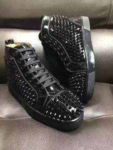Wholesale hightop sneakers for sale - Group buy Classic Black Patent Leather With Full Spikes Perfect Quality Red Bottom Shoes Luxury Designe Casual Walking HighTop Outdoor Sneakers