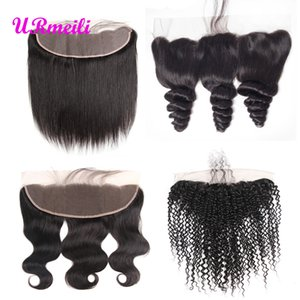 Peruvian Straight Body wave Loose Wave Deep Wave Curly Virgin Hair Ear To Ear Lace Frontal Closure Free Part Remy Human Hair