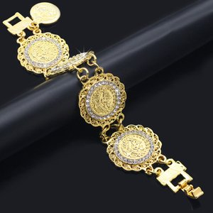 Wholesale Fashion Gold Chain Crystal Diamonds Coin Bracelet Bangle Adjustable Simple Bracelets Hip Hop Bracelet Woman Wedding Party Jewelry