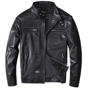 Wholesale Spring Men Black Genuine Leather Coats Motorcycle Jacket Real First Layer Sheep Skin XL New Clothing Male Bomber Jacket