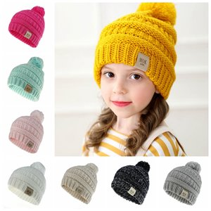 2019 new design baby girls boys crochet caps children fashion beanies solid pure candy colorpompom hats winter warm accessories