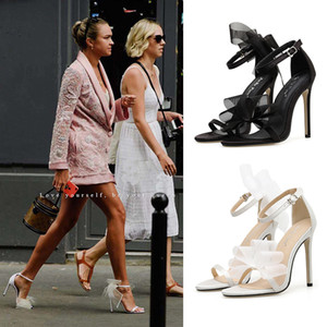 2020 new hot selling European and American open toe irregular bow Super High Heels Sandals with one word buckle thin heels wedding shoes