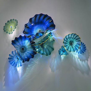 Blue Teal Shade 100% Hand Blown Murano Glass Hanging Plates Wall Art Borosilicate Glass Art Hand Blown Glass Flower Wall Art Plates