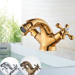 Gold Bidet Basin Faucet Dual Handles Water Bathroom Sink Brass Single Hole Deck Mounted Water Mixer Tap