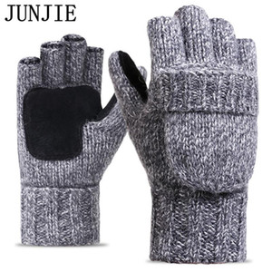 Wholesale 2017 Thick Male Fingerless Gloves Men Wool Winter Warm Exposed Finger Mittens Knitted Warm Flip Half Finger Gloves High Quality