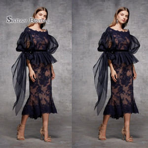 2020 Sheath Black Tea Length Evening Dress Half Sleeves Custom Made Prom Dresses Formal Party Wear Lace Tiered Skirt on Sale