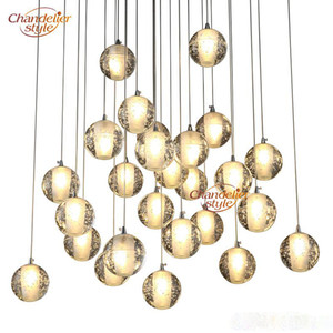 LED Crystal Glass Ball Pendant lamps Meteor Rain Ceiling Light Meteoric Shower Stair Bar Droplight Chandelier Lighting