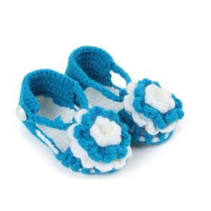 Wholesale ARLONEET Shoes Colorful Kids Baby Bowknot Shoes Newborn Baby Flower Knitting Lace Crochet Buckle summer daily