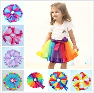 Wholesale Kids Designer Clothes Baby Girls Colorful Tutu Skirts Ins Tutu Dance Wear Skirts Princess Skirt Ballet Pettiskirts Dance Rainbow Skirt LT393