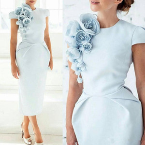 New Elegant Formal Evening Dresses with Hand Made Flower Pageant Capped Short Sleeve Tea-Length Sheath Prom Party Cocktail Gown