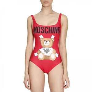 Wholesale HOT women MOSC MO Small Bear Designer fashion red Swimwear Bikini For Women Letter Swimsuit Bandage girls Sexy Bathing one piece Suit S XL