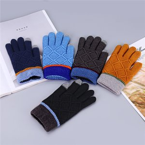 Wholesale Knitted Boys Gloves Thick Warm Winter Plaid Full Finger Children Man Stretch Wool Screen Sense Outdoor Sports Mittens guantes