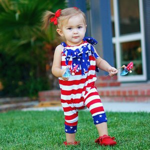 Wholesale Baby Girls Tassel Romper Dresses Bow Headband Lace-up 4th of July American Flag Printed Independence National Day Sleeveless Kids Clothing