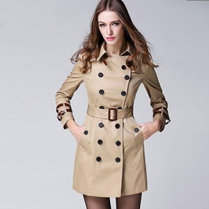 Wholesale Women s New Fashion Brand Coat European and American Style Slim Mid Long Trench Coat Women Solid Spring Autumn Outerwear Coats b9266
