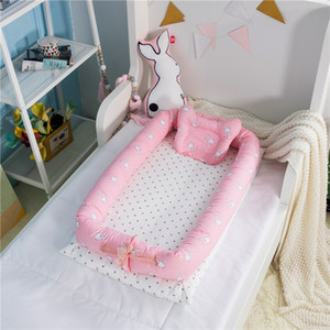 Wholesale Cute Cartoon Portable Baby Crib Foldable Cotton Baby Cot Removable Bed In Bed Newborn Bionics Co Sleeping Bedside Cribs