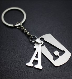 Wholesale NEW DIY A Z Letters key Chain For Men Silver Metal Initial Keychain Women Car Key Ring Letter Name Key Holder Party Gift Jewelry