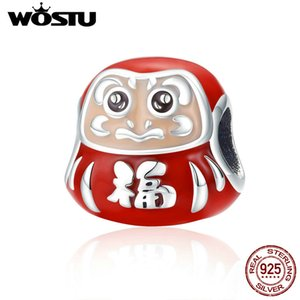 Wholesale WOSTU Sterling Silver Japan Dharma Tumbler Mascot Red Beads Fit Bracelet Bangles Kawaii Charms For Women DIY Jewelry CQC1087