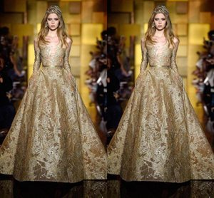 Wholesale Prom Dresses Ziad naked Elie saab Yousef aijasmi 2020 Long sleeve Ball gown Gold Appliquesl Long dress Zuhair murad Kylie Jenner Event