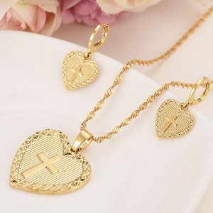 Heart cross Jewelry sets Classical Necklaces Earrings Set 14 K Yellow Solid Gold FINISH Arab Africa Wedding Bride's Dowry