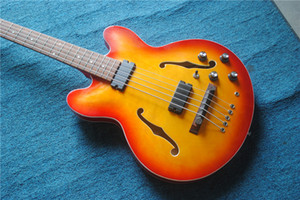Cherry Burst 5 Strings Electric Bass Hollow Body 335 Bass Guitars High Quality From China