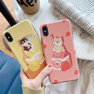 Wholesale For Iphone Xr Xs Max Phone Case Silk Embossed Dog Cute Cartoon X Plus IMD Soft TPU Cell Phone Cases