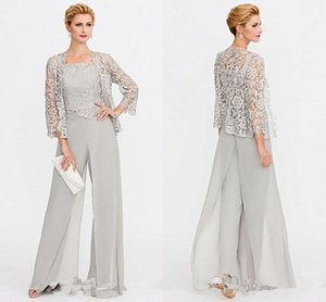 Newest Gray Mother of The Bride Dresses Two Pieces Lace Jackets Mothers Dresses For Wedding Events Pants Suit Evening Gown BC005 on Sale
