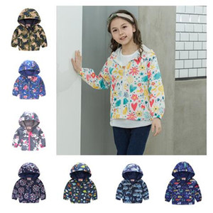 Wholesale coats for kids for sale - Group buy Kids Boy Girls Jacket Spring Thin Baby Hooded Fashion Zipper Jackets Flower Butterfly Print Cartoon Coat For Children Sports Outwear D21803